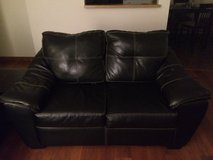 Black leather couch 2 in Joliet, Illinois