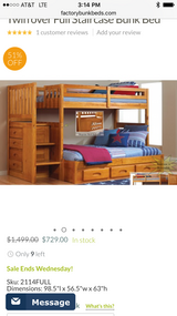 Honey pine twin over full bunk beds with stairs and storage in Fort Leavenworth, Kansas