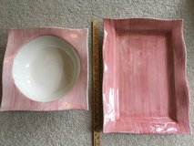 Set of 2 EXTRA LARGE Reddish Ceramic Platters with defects in Naperville, Illinois