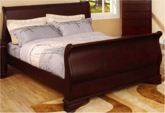 King Size Cherry Platform Sleigh Bed, Pillowtop mattress and boxspring in Bolling AFB, DC