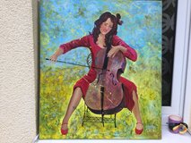 Mixed media painting Girl playing violonchello in Ramstein, Germany