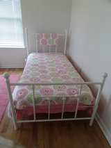 Girls Twin Metal Bed, White, New w/ new mattress in Fort Knox, Kentucky