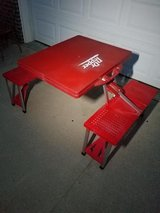 Red / Dr Pepper / Fold Up Carrying Case Camping Table / Bench in Fort Campbell, Kentucky
