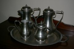 Pewter (Italian/Peltro) coffee and tea set with tray. in St. Louis, Missouri