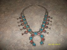 Corral and Turquoise  Sterling silver necklace. in Watertown, New York