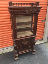 Belguim Oak Curio Beveled Glass Top/Sides 1800's in Cherry Point, North Carolina