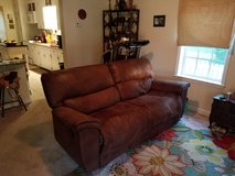 Brown Reclining Leather Couch in Camp Lejeune, North Carolina