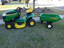 John Deere D105 Riding Lawn Tractor + Trailer, excellent condition, low hours in Byron, Georgia