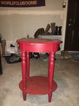Red telephone table (antiqued) in Fort Lewis, Washington
