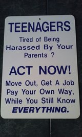 Teenagers Act Now Sign in Elgin, Illinois