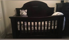 Crib Turns into Queen Bed with Mattress and Bedding in San Diego, California