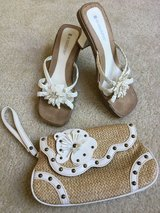SIZE 7.5 White Sandals and Wristlet / Purse / Clutch in Lockport, Illinois