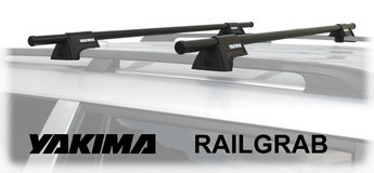 "Yakima rail grab set with 48"" load bars for vehicle with roof rack, used in Okinawa, Japan"