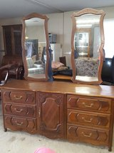 ALL SOLID  WOOD TWO MIRROR DRESSER w/ NIGHT STAND in Warner Robins, Georgia