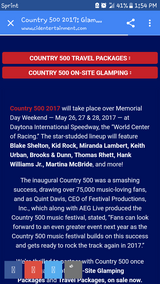 2-3 day passes to Country 500 in Daytona in Warner Robins, Georgia
