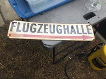Flugzeughalle sign (airplane hangar) in Fairfield, California