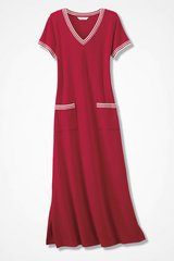 French Terry Maxi Dress Large Brand New Fresh Red and white for summer in Naperville, Illinois