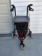 DMI 3-Wheel Folding Aluminum Rollator Walker with Swivel Front Wheel Royal Burgundy. in Naperville, Illinois
