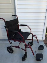 Medline Transport Wheelchair with Brakes, Red in Naperville, Illinois