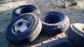 Full set of Six 8 lug Split Rim Wheels with 7.50 16 LT used tires Best Offer-Must Sell in Yucca Valley, California