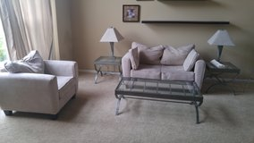 Hillcraft Couch/Chair, Glass Tables, Lamps in Lockport, Illinois