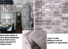 5 NEW Rolls of Gray Brick Stone Wallpaper Great for Castle Themed Rooms *Will Sell Separately Too* in Houston, Texas
