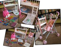 Wooden Doll Bunk Bed & Corolle Doll Stroller PLUS accessories in Aurora, Illinois