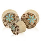 Floral wood plugs body jewelry in Camp Lejeune, North Carolina