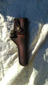 Old brown leather holster in Camp Lejeune, North Carolina