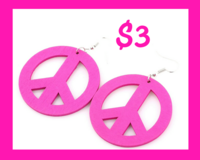 WOODEN PINK PEACE SIGN EARRINGS in Columbus, Georgia