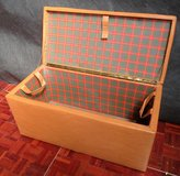 1950s Hamper Brown Leather with Plaid Liner in Ramstein, Germany