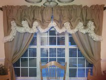 Custom made lined burlap curtains in Byron, Georgia