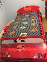twin size lightning McQueen trundle bed with premium mattress in Sacramento, California