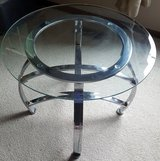 REDUCED - Glass End Tables - Silver (Set of 2) in Naperville, Illinois