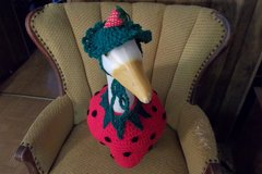 Strawberry Geese Goose Outfit Crochet Lawn geese clothes in Belleville, Illinois