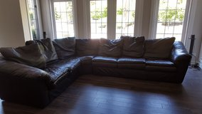 COUCH BLACK LEATHER SECTIONAL in Naperville, Illinois
