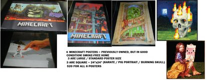 Minecraft Poster Lot 6 Posters Creeper Underground World Cube Burning Skull Hand & Fighter Pig in Houston, Texas