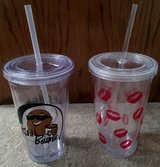 DRINK CUPS WITH LIDS & STRAWS x2 in Lakenheath, UK