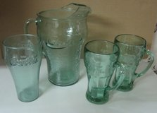 Coca Cola ice lip glass pitcher, 2 mugs and 1  glass in Baytown, Texas