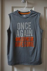 Boys Starter Grey Once Again I Woke Up Awesome Graphic Muscle Tank Size 6/7 in Joliet, Illinois