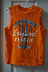 Boys Faded Glory Orange Long Beach Graphic Muscle Tank Size 6/7 in Plainfield, Illinois