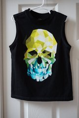 Boys Faded Glory Black Skull Graphic Muscle Tank Size 6/7 in Joliet, Illinois
