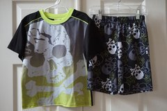 Boys Faded Glory Black Skull Pajama Set Size 6/7 in Joliet, Illinois