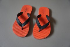 Boys Old Navy Orange/Grey Flip Flops Size 12/13 in Joliet, Illinois