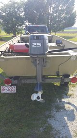 14 ft Lowe double wide Jon Boat 25 HP motor / trailer (Trade for Dump Trailer) in Camp Lejeune, North Carolina