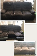 COUCH Chocolate Brown Suede & Leather in Travis AFB, California