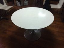 Round white table in Okinawa, Japan
