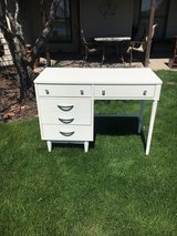 Desk /finished in a white gloss enamel. MCM nickel hardware in Naperville, Illinois