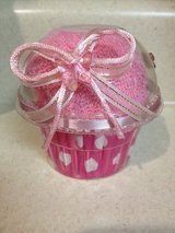 NEW baby pink CUPCAKE bath towel, towel treat, gift in Naperville, Illinois