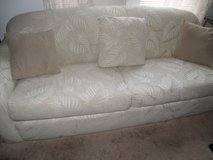 Standard Custom Sofa/Bed Queen with Beige Jacquard Upholstery 3 Cushion & 2 P Back in Wilmington, North Carolina
